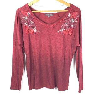 🌸MISS ME Womens Burgundy Floral Knit Sweater 1216